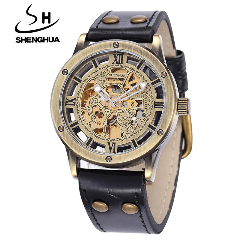 Prix pour Shenhua marque de luxe mécanique montres hommes mode vintage bronze squelette automatique mécanique montres relogio masculino
