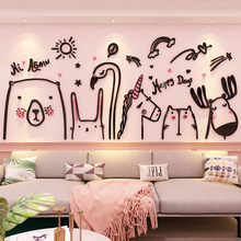 Creative INS lovely Pets DIY Children's room bedroom home living room TV background wall decoration 3D acrylic wall sticker creative diy acrylic flower ins chidren s room bedroom living room tv background wall decoration 3d acrylic wall sticker