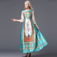 Luxury Long Dresses 2015 Fall Europe Fashion New Russian Style Sequins Long Sleeve Vintage Print