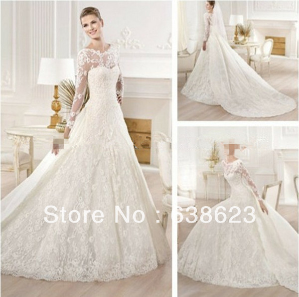 AW069 New Muslim Lace Long Sleeve High Neck Wedding Dress