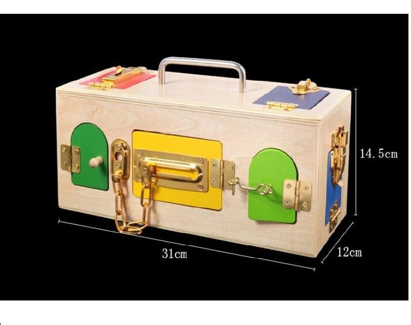 1 ensemble Montessori jouets serrure boîte en bois matériaux sensoriels éducatifs en bois jouets pour enfants bébé enfants jouets - 3