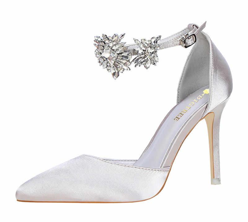 b7f84997d4 ... 2019 Brand women pumps Luxury rhinestones Strap buckle Wedding shoes  Pointed toe high heels Spring Summer ...