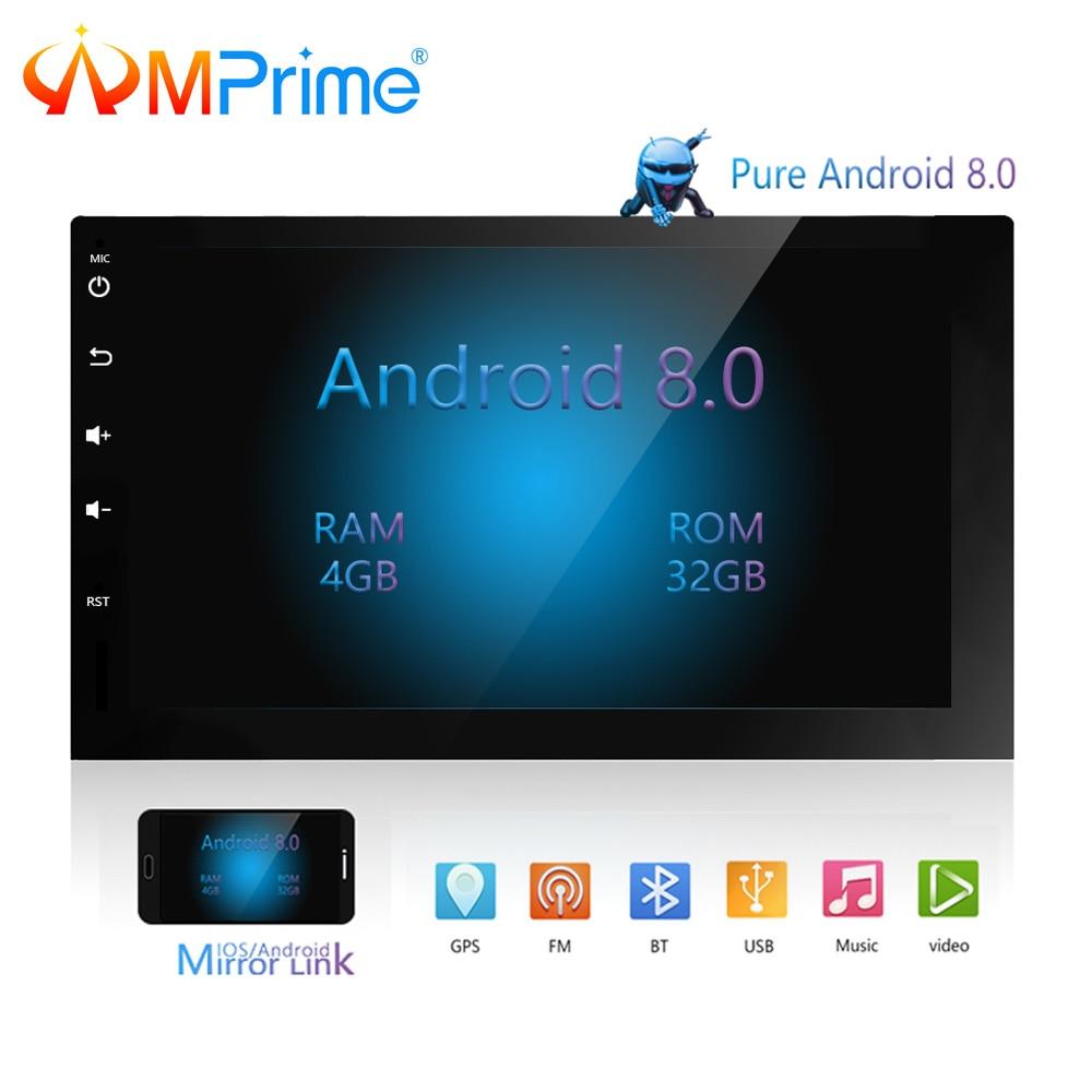 AMPrime 2Din Android 8,0 автомобиль радио стерео Мультимедийный Плеер OBD gps Wi Fi Bluetooth USB авто FM аудио камера заднего вида плеер