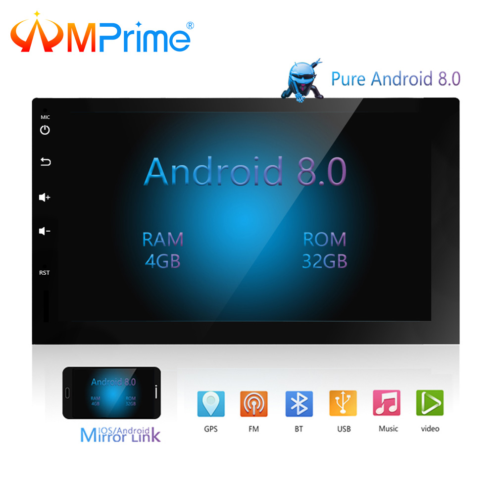 AMPrime 2Din Android 8.0 Car Radio Stereo Multimedia Player OBD GPS Wifi Bluetooth USB Autoradio FM Audio RearView Camera Player