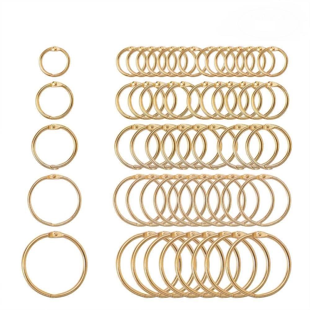5Pc 15-38mm Golden Metal Loose Leaf Book Binder Hinged Rings Keychain Album Scrapbook Craft Black Open Rings Office Binder Hoops