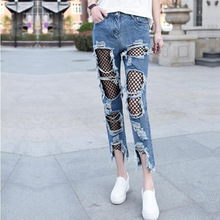 2017 the new Europe and the United States women's fashion hole mesh together nine minutes of pants hole in sexy, beggars jeans