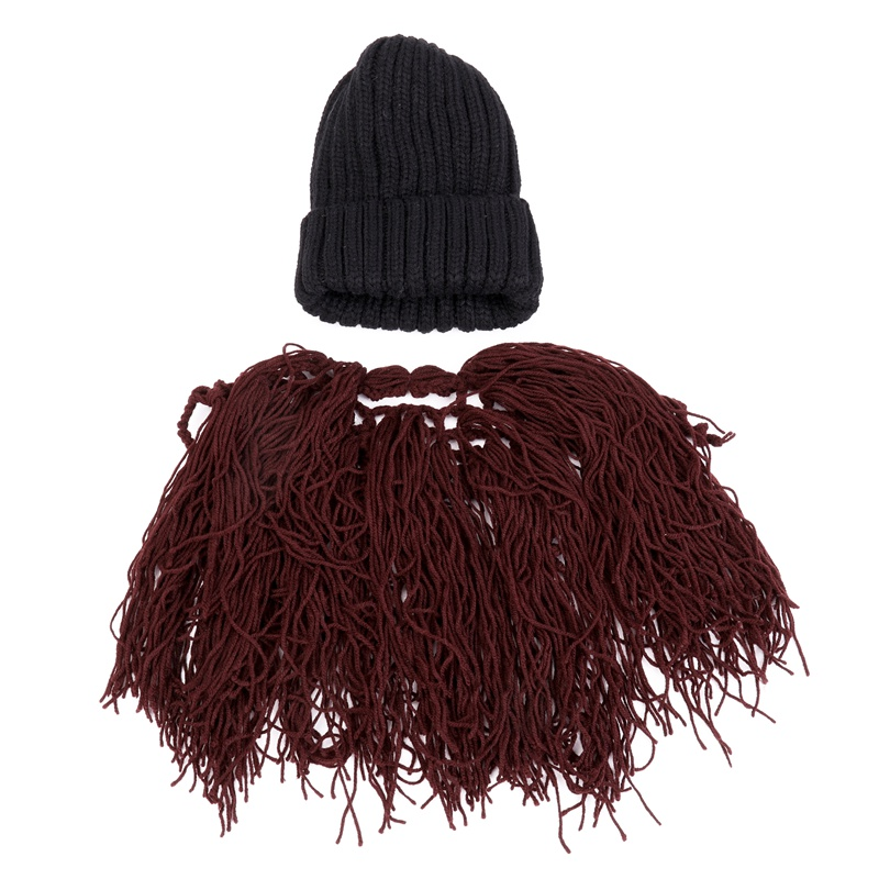 Funny Big Mustache Beanies Party Caps Christmas Warm Winter Thick New Year Knitted Wig Beard Hats For Xmas Gifts