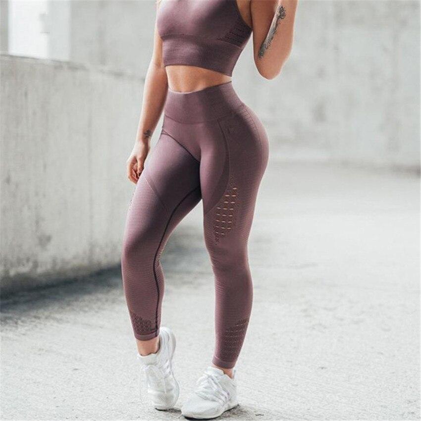 CHRLEISURE mujeres de cintura alta de polainas hueco Fitness polainas entrenamiento Legging para las mujeres Casual Jeggings 4 Color