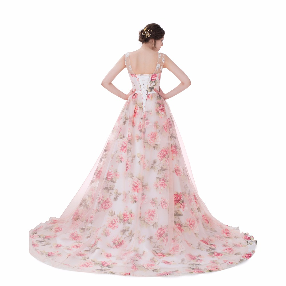 BRLMALL 2017 Trendy Lace appliques Print Wedding Dresses Lace up Ball Gown  Floral Sleeveless Bridal gowns Vestido De Noiva-in Wedding Dresses from  Weddings ... 4349b33df109