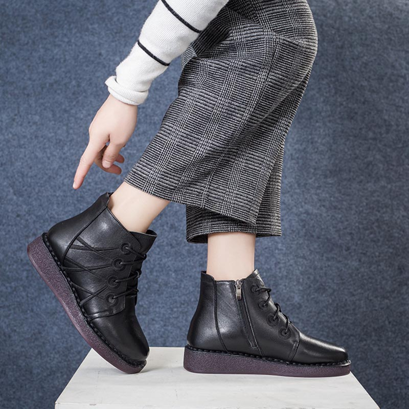 Avec Dames À Peluche Reconstitué Chaussures Fsj01 Talon Plat De Véritable En Lacets Courte Cuir Croix Med Femme Fsj attaché Martin D'hiver Bottes OyvwNmnP80