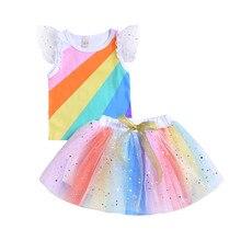 Summer Infant Toddler Girl Sparkling Rainbow Tops Skirt Clothing Set