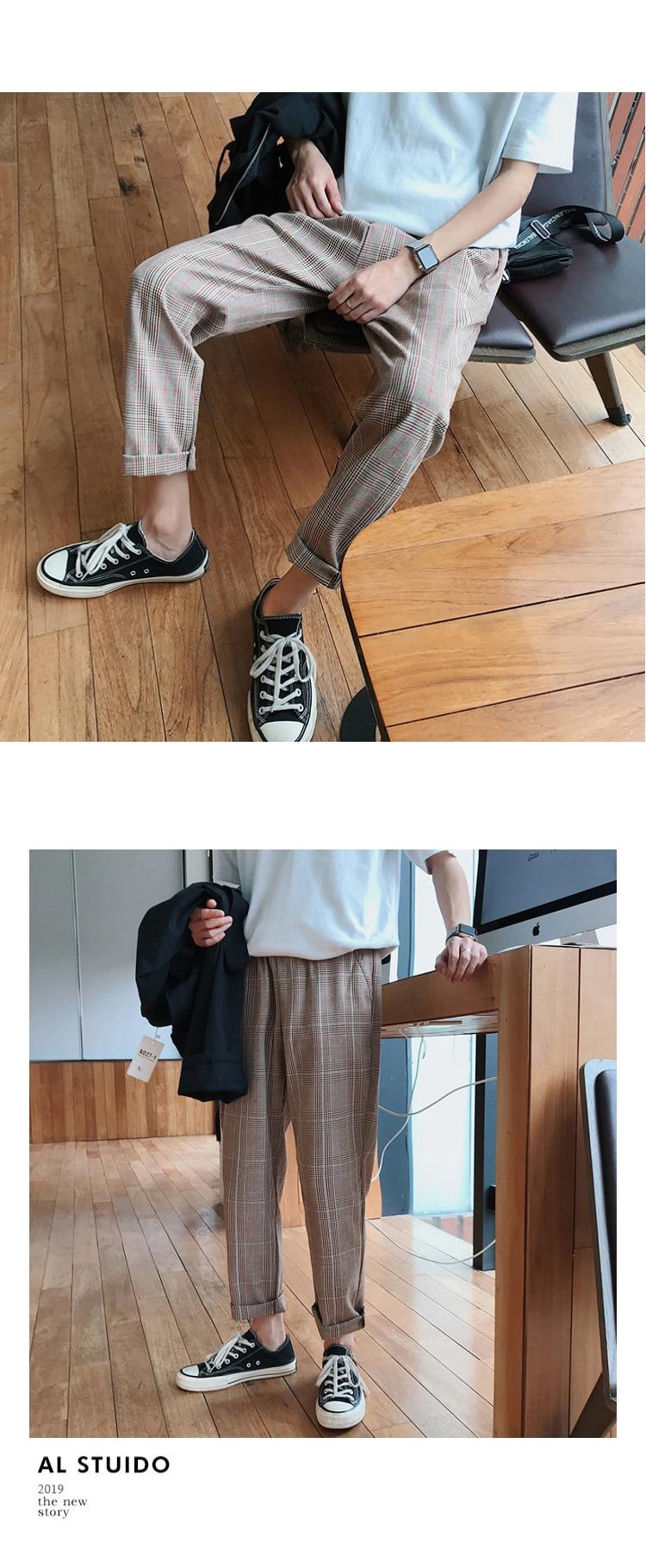 LAPPSTER Streetwear Yellow Plaid Pants Men Joggers 19 Man Casual Straight Harem Pants Men Korean Hip Hop Track Pants Plus Size 15