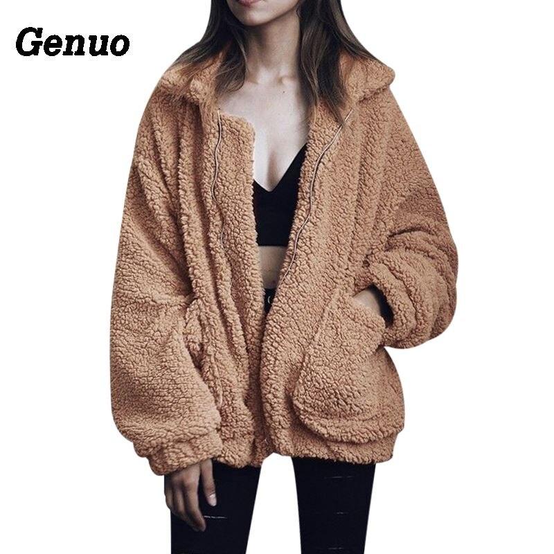 Genuo Women Fashion Fluffy Shaggy Faux Fur Warm Winter Coat Cardigan Bomber Jacket Lady Coats Zipper Outwear Jackets Streetwear