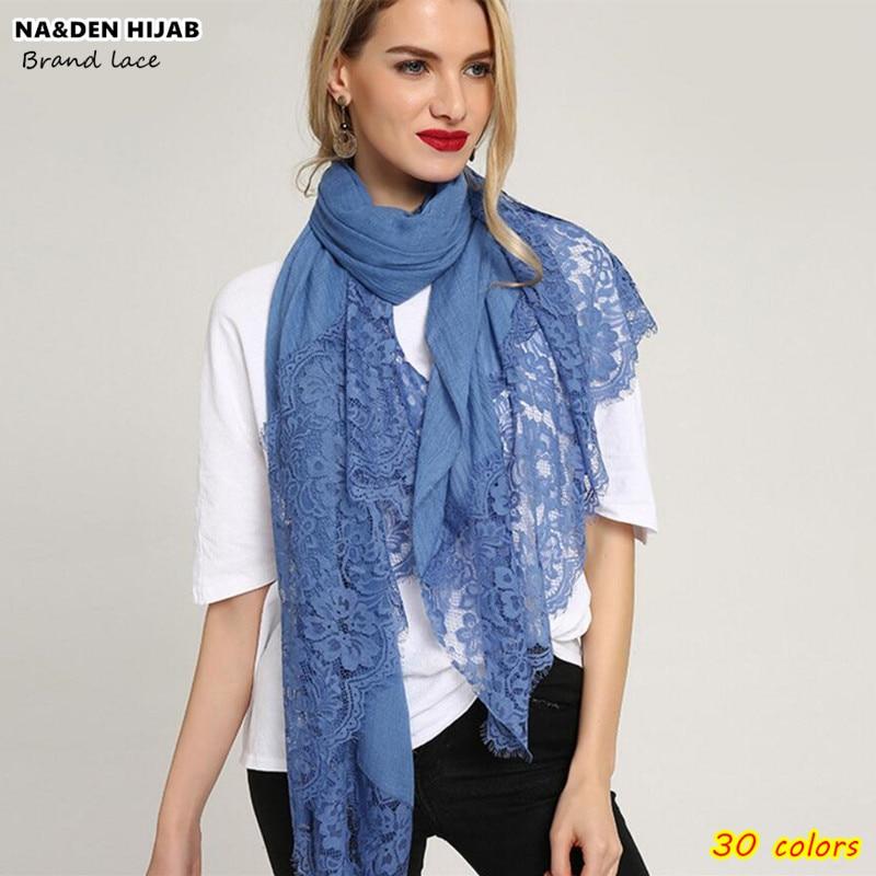 30 colors Fashion Luxury lace scarf hijab woman plain maxi shawl embroider flower lace foulard pretty