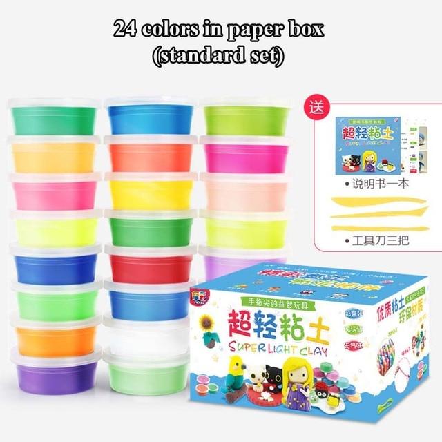 24 Colors / 36 Colors Super Light Modeling Clay Set Air Dry Soft Plasticine Plastilina Play Dough Playdough Polymer Clay DIY Toy