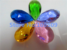 цена на 20Pcs Chandelier Crystals Mixed Color Tear Almond 38mm Ornament Teardrop Prism Free shipping