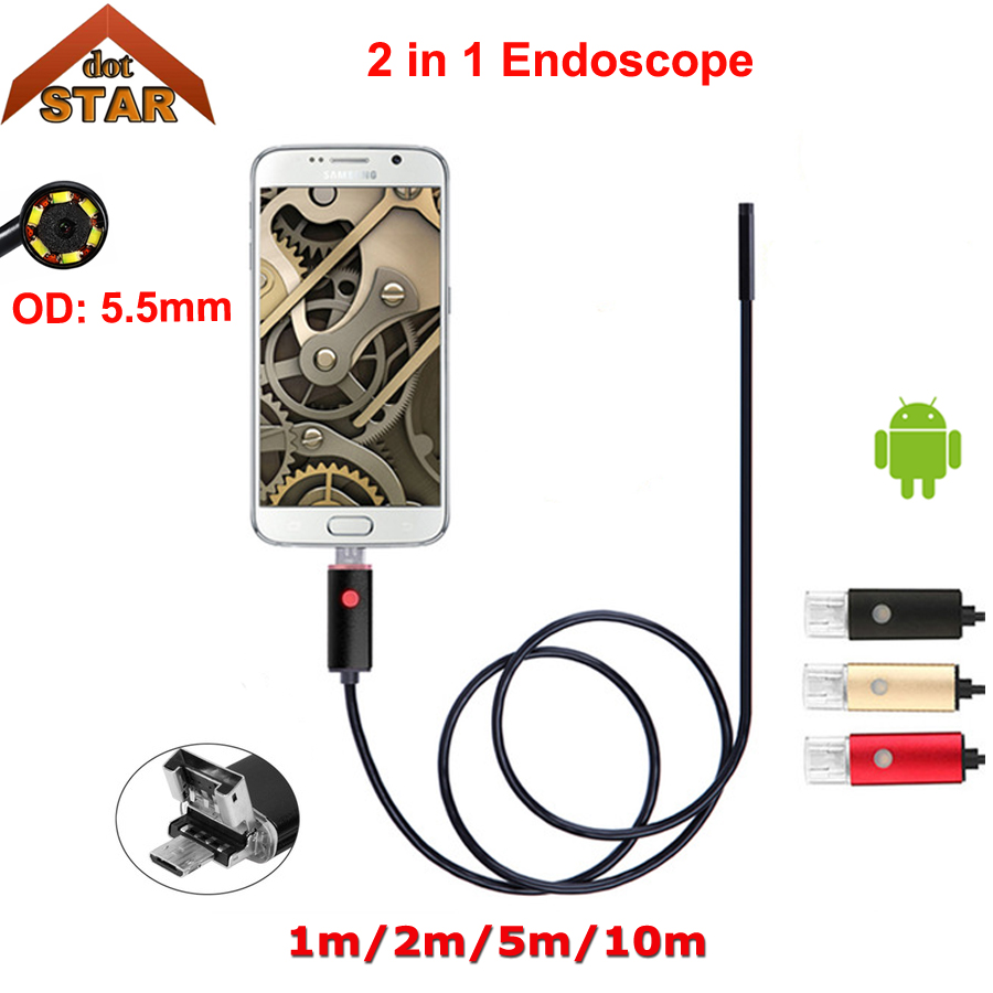 Stardot Android Mobile Endoscope USB 5.5mm Lens 1/2/5/10M Snake Camera Waterproof Inspection Borescope for Laptop and OTG Phone gakaki 7mm lens usb endoscope borescope android camera 2m waterproof inspection snake tube for android phone borescope camera