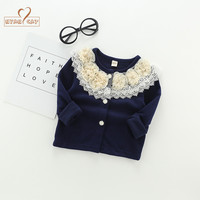 Nyan Cat Kids Sweaters For Girls Clothing Autumn Spring Baby Girl Blue Sweater Knitted Coats Flower
