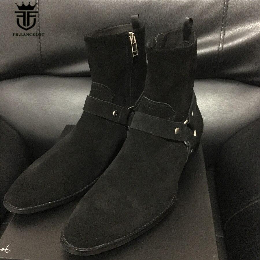 صورة حقيقية عالية أعلى جودة الفاخرة الكاحل حزام الجلد المدبوغ الأسود Kanyewest إسفين جلد طبيعي وايت تشيلسي الرجال التمهيد الشتاء سحر-في أحذية للدراجات النارية من أحذية على  مجموعة 1