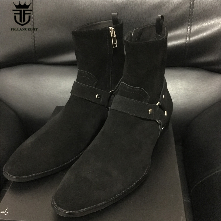 Real Picture High Top Quality Luxury Ankle Strap Suede Black Kanyewest Wedge Genuine Leather Wyatt Chelsea Men Boot Winter Charm real picture luxury handmade classical wyatt homme harness high top chelsea men boots wedge real cow leather suede boots