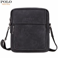 VICUNA POLO Business Feather Embossing Men Leather Messenger Bags New Arrival Brand Vintage Man Crossbody Shoulder