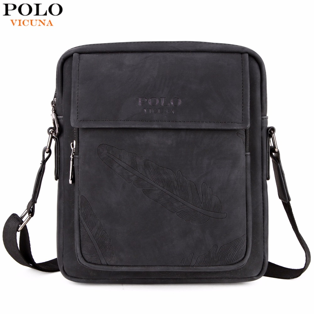 d54ecffc2f6b VICUNA POLO Business Feather Embossing Men Leather Messenger Bags New  Arrival Brand Vintage Man Crossbody Shoulder Bag Man Bag