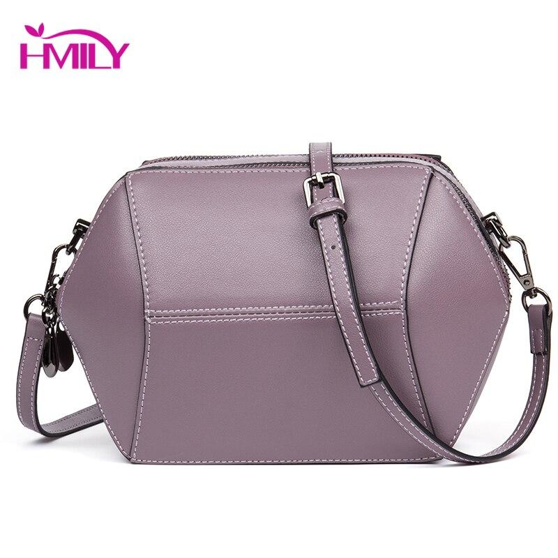 HMILY Women Messenger Bag Leather Female Bag England Candy Color Ladies Crossbody Bag Double Zipper Shoulder