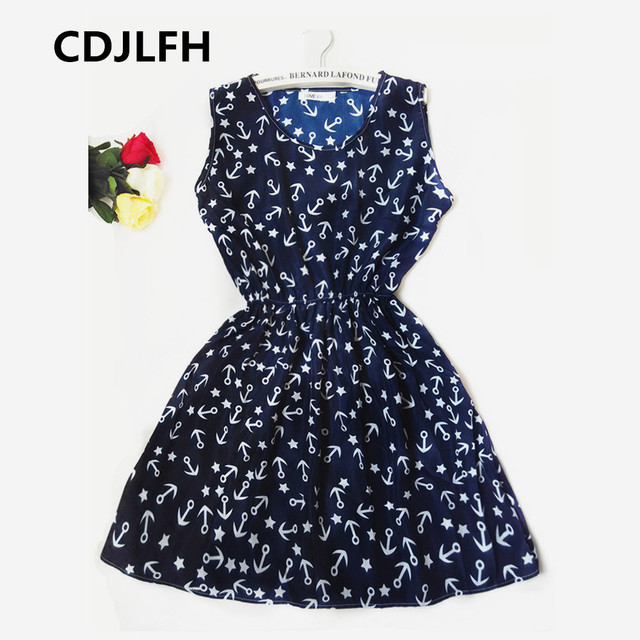 CDJLFH Brand Blue stars 20 Colors Fashion Women Sleeveless Florals Print Round Neck Dress 2016 Saias Femininas Summer Clothing