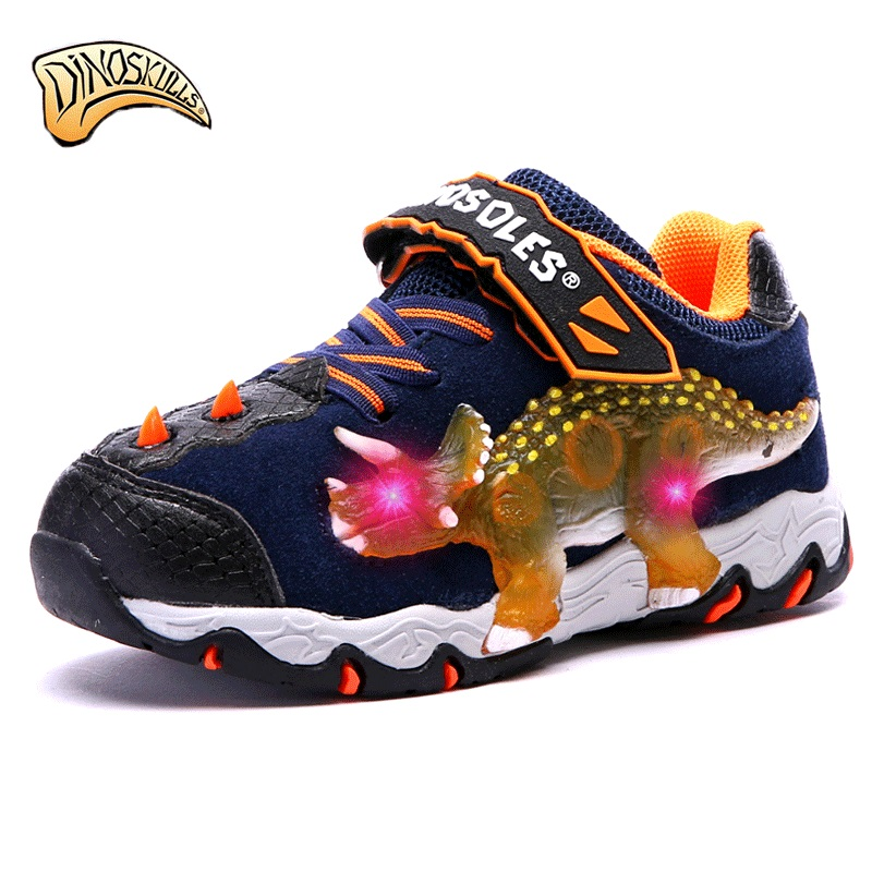Dinoskulls boys sneakers kids sport running glowing shoes led Breathable shoes 3D dinosaur tenis infantil leisure shoes 27-34 цена