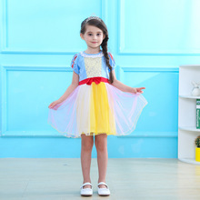 New childrens dress girl snow white role-playing cotton mesh stitching princess