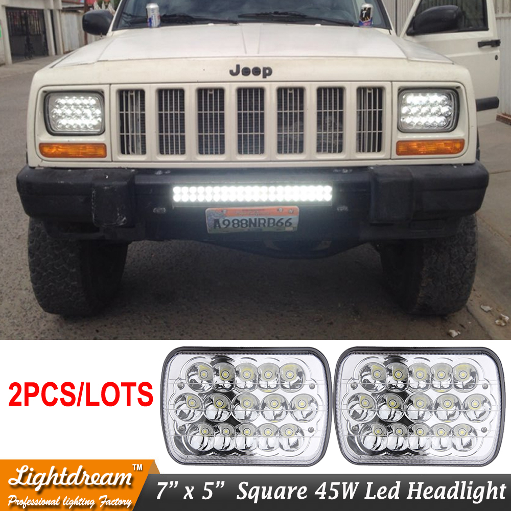 7x6 45w led headlights 7x5 15leds 12v 24v led sealed beam headlamp university for f250 f350