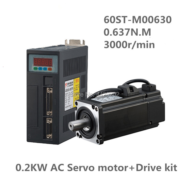 60ST-M00630 220V 200W AC Servo motor 0.2KW 3000RPM 0.637N.M. Single-Phase ac drive permanent magnet Matched Driver AASD-10A new original 220v 200w 3 axis mr j4w3 222b ac servo drive