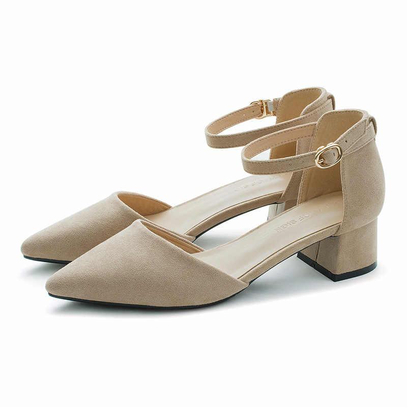 Женские туфли-лодочки замшевые тонкие туфли с пряжкой женская обувь на высоком толстом каблуке с острым носком