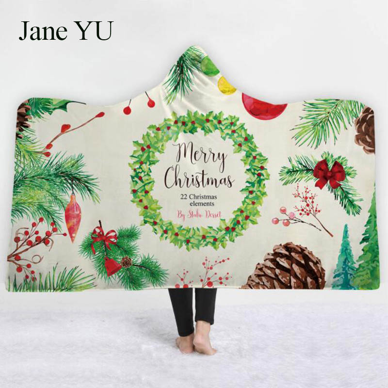 JaneYU Explosive hooded capes thickened with double plush 3D digital printing childrens Christmas cover series decoration