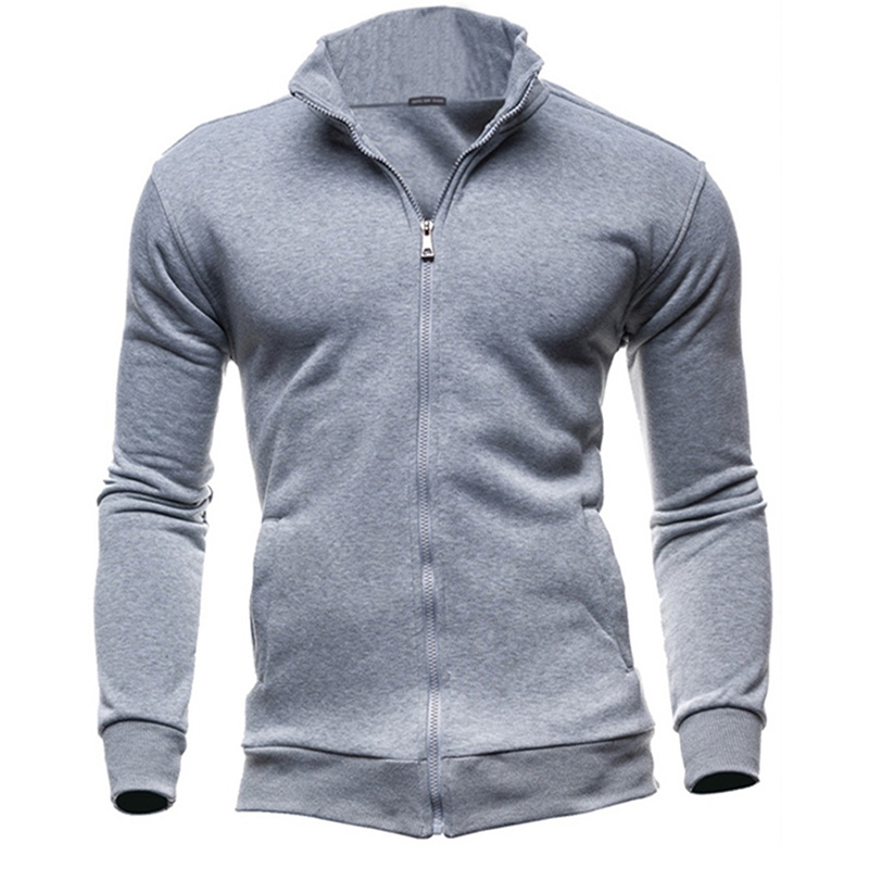 Fashion Stand Collar Zipper Sweatshirt Hoodies Men Casual  Solid Color Coat Male Hoody Tracksuit Plus Size sudaderas para hombre