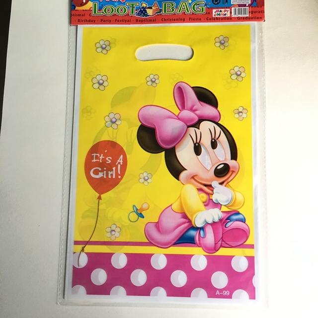 10pcs Cartoon Minnie Mouse Theme Gift Bags Its A Girl Candy Dessert Plastic Child