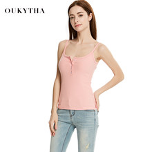 Oukytha 2017 Summer Spaghetti Strap Casual Low-cut Slim Fit Sleeveless Female halter Tops All-match Sexy Bodycon Pink GMZ17065(China)
