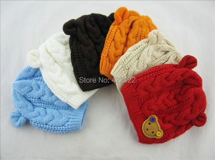 Winter Ear Protector Knitted Hats For Boy/girl/kits Hats,infants Caps Beanine Chilldren-Dot Turtleneck 2pcs/lots  MC02