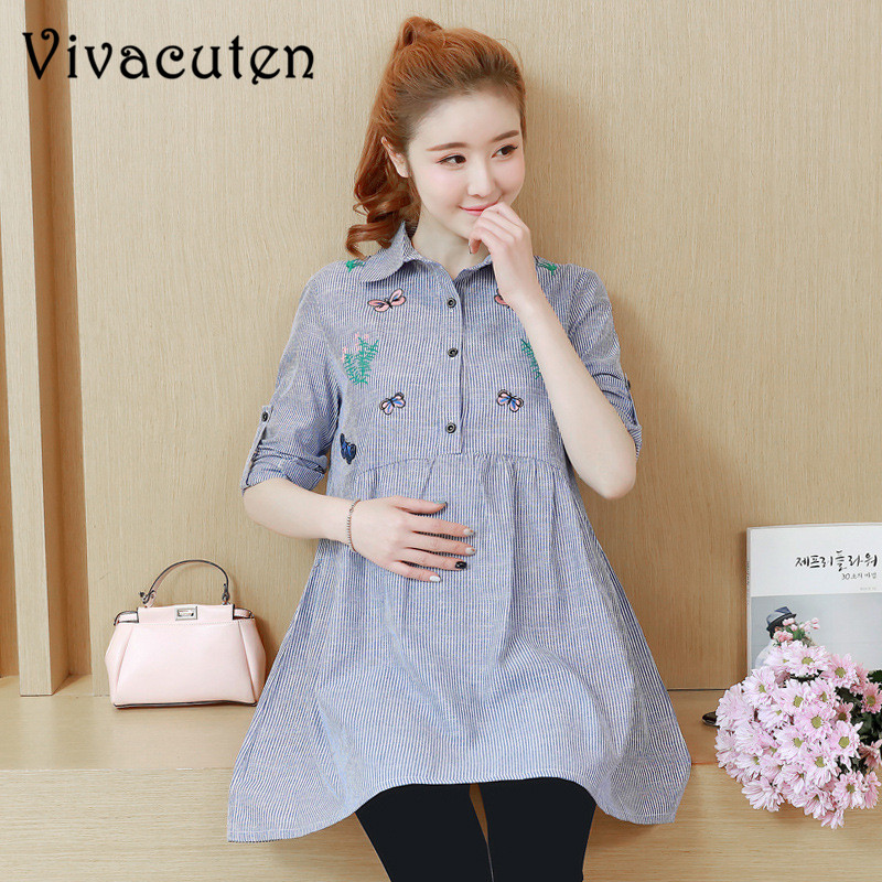 Pregnant Womens Clothing New Spring Autumn Turn Down Collar Striped Embroidery Loose Lon ...