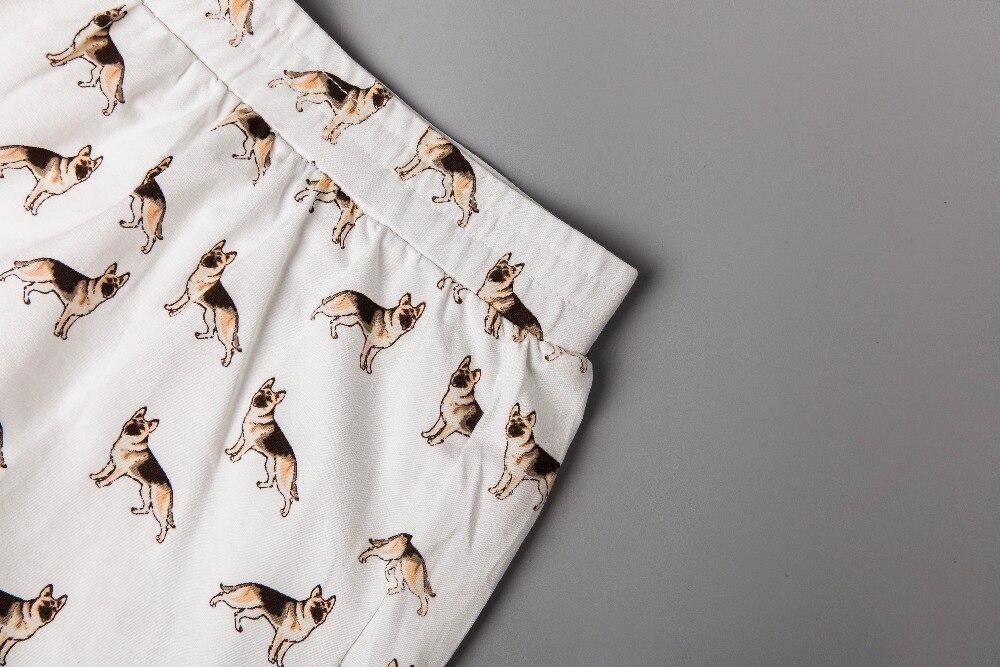 2017 Women's Cute German Shepherd Cartoon Print Casual Shorts Loose Fit White Elastic Waist Stretchy Cotton Plus Size B7N901J 1