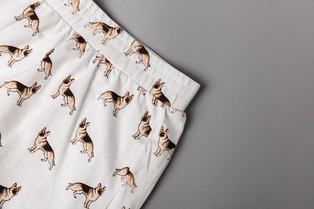 2019 Women's Cute German Shepherd Cartoon Print Casual Shorts Loose Fit White Elastic Waist Stretchy Cotton Plus Size B7N901J