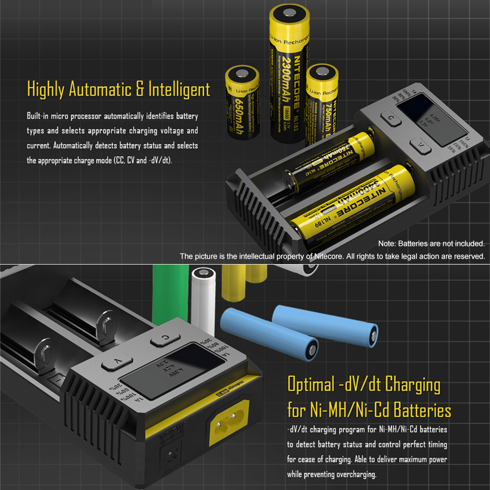 Nitecore New I2 Intelligent Battery Charger W 2 Slots Fast For All Types Charging Speed Ni Mh Li Ion Imr Lifepo4 18650 In Chargers From Consumer