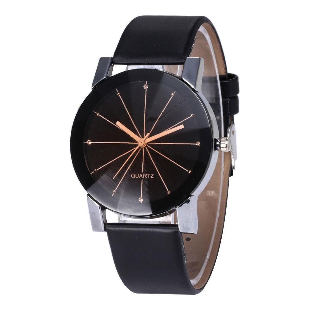 Relogio Feminino Fashion Simple Women Watches Round Dial Linear Women Faux Leather Band Casual Women Quartz Wrist Watch Gift