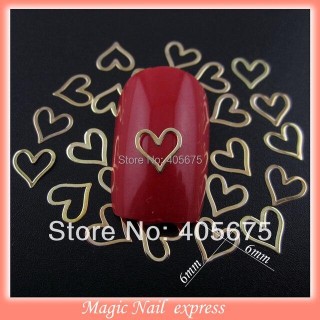 Mns319 Heart Shape Gold Nails Studs Metal Nail Art Slices Diy Nail