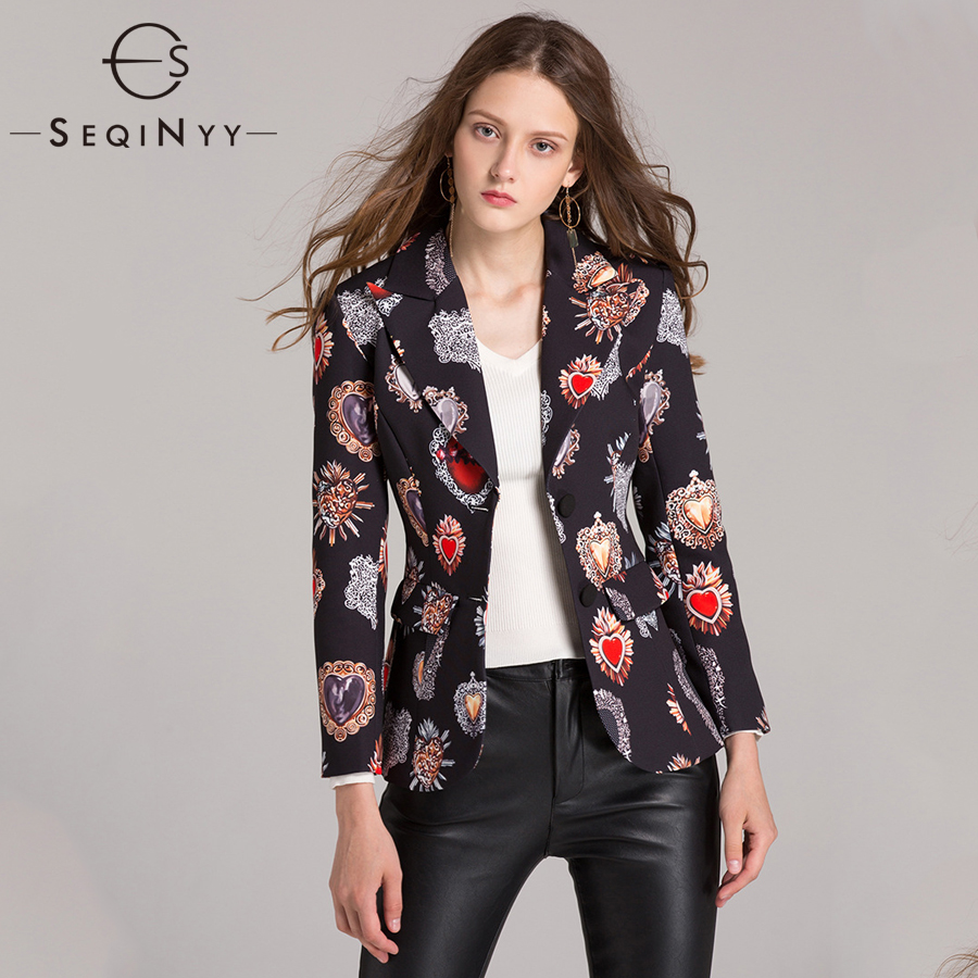 SEQINYY Vintage Blazers 2018 Early Autumn Woman s New Long Sleeve High Street Printed Single Breasted
