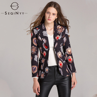 SEQINYY Vintage Blazers 2018 Early Autumn Woman's New Long Sleeve High Street Printed Single Breasted Notched Fashion Jackets