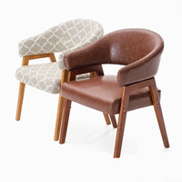 New Stylish solid wood dining chair,sitting room sofa with armrest,cotton And leather dining chair Wooden Living room Furniture