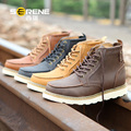Men's Full Grain Leather Tooling Boots Autumn Fashion Genuine Leather Male Martin Boots