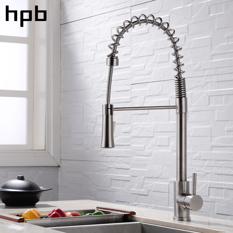 HPB 2018 spring style brushed kitchen pull out faucet mixer single handle hot and cold water tap all round rotatable BU-4125a micoe hot and cold water basin faucet mixer single handle single hole modern style chrome tap square multi function m hc203