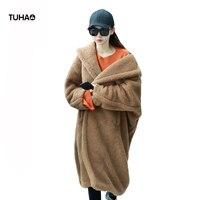 TUHAO 2018 Autumn Winter Furry Teddy Jacket Women Faux Lamb Fur Coats Long Section Windbreaker Thick Casual Outerwear TR0074